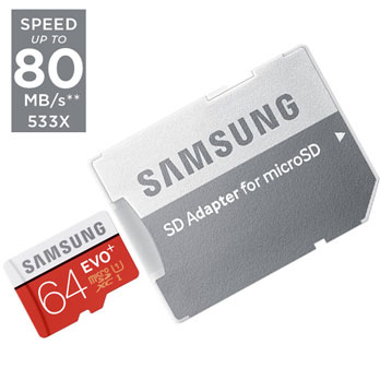 Samsung 64GB micro SD EVO Plus met adapter UHS-I 80MB/s