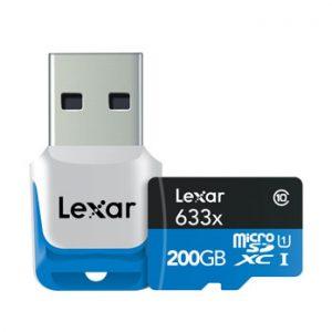 Lexar 200GB Micro SD 633x met USB Reader 95MB/s