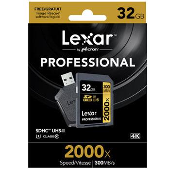 Lexar 32GB SDHC 2000x Professional UHS-II 300MB/s