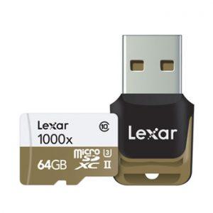 Lexar 64GB Micro SD 1000x UHS-II U3 met USB Reader 150MB/s