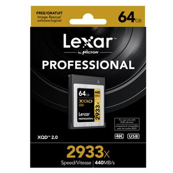 Lexar 64GB XQD 2933x Professional Card 440MB/s