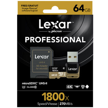 Lexar 64GB Micro SD 1800x UHS-II U3 met USB Reader 270MB/s