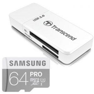 Samsung 64GB microSD Pro U3 UHS-I 90MB/s met USB kaartlezer