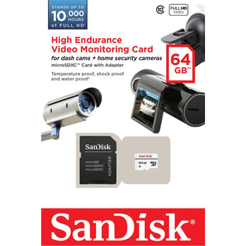 High Endurance Video Monitoring SanDisk 64GB micro SD Card