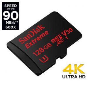 SanDisk 128GB micro SD Extreme 90MB/s UHS-I U3 V30