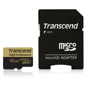 Transcend Micro SD 16 GB High Endurance met Adapter voor beveiligingscamera's of Dashcams.