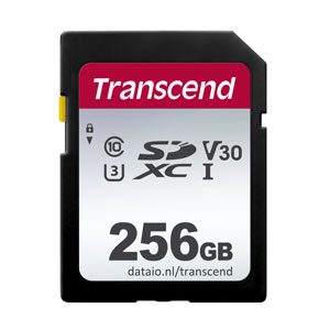 SD Kaart Transcend 256 GB 300S geheugenkaart.