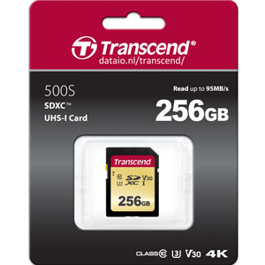 Transcend 500S 256GB SDXC U3 V30 MLC 95MB/s SD Kaart