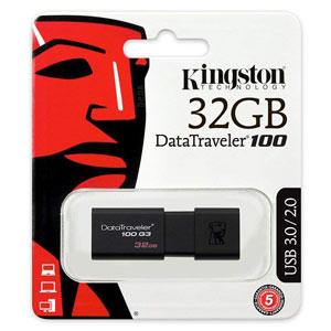 Kingston 32GB USB Data Traveler 100 G3, goedkoop opslagmedium voor al uw bestanden.