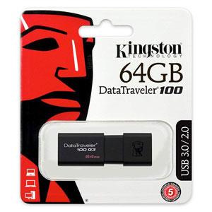 Kingston 64GB USB Data Traveler 100 G3, goedkoop opslagmedium voor al uw bestanden.