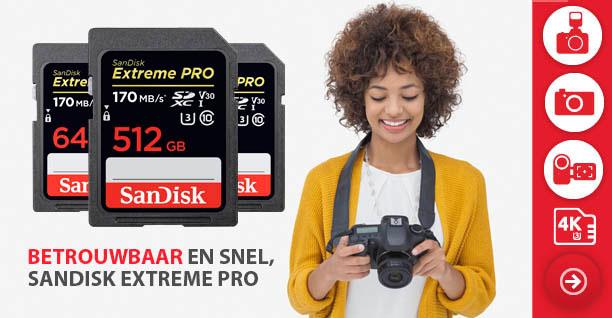 Drie SanDisk Extreme Pro SD Kaarten voor camera.