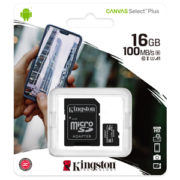Kingston 16GB Canvas Select Plus U1 A1 Micro SD met Adapter verpakking