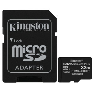Kingston 32GB Canvas Select Plus U1 A1 Micro SD met Adapter