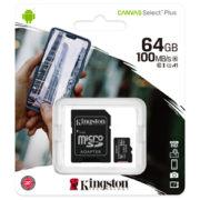 Kingston 64GB Canvas Select Plus U1 A1 Micro SD met Adapter verpakking