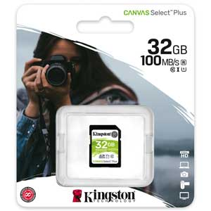 Kingston 32GB SD Kaart Canvas Select Plus UHS-I U1 V10 verpakking