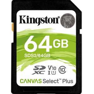 Kingston 64GB SD Kaart Canvas Select Plus UHS-I U1 V10