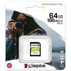 Kingston 64GB SD Kaart Canvas Select Plus UHS-I U1 V10 verpakking