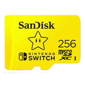 SanDisk 256 GB Extreme Micro SDXC voor Nintendo Switch uit verpakking
