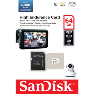 SanDisk High Endurance 64 GB Micro SD 100MB/s geheugenkaart