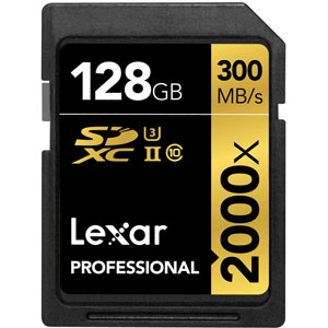 LEXAR 128GB SDXC 2000X PROFESSIONAL UHS-II 300MB/S recht